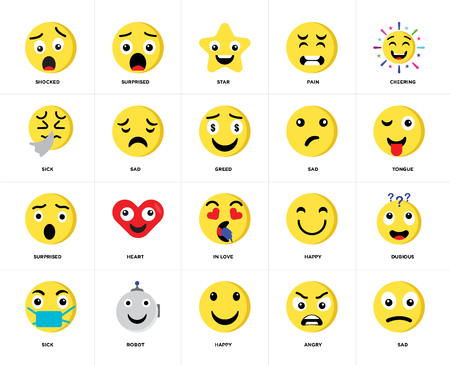 Set Of 20 icons such as Sad, Angry, Happy, Robot, Sick, Cheering, In love, Surprised, Star, web UI editable icon pack, pixel perfect