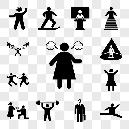 Set Of 13 transparent icons such as Angry woman, Jumping dancer, Unrecognizable man, Man doing exercises, giving flowers, Happy girl, Relay runners, web ui editable icon pack, transparency set