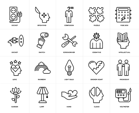 Set Of 20 icons such as Voltmeter, Cloud, Hand, Lamp, Garden, Fuse box, Cognitive, Light bulb, Love, Switch, Confusion, web UI editable icon pack, pixel perfect