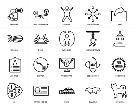 Set Of 20 icons such as chihuahua, bull bear, igloo, drivers license, 123, irect, motion capture, ransomware, job title, chair, stickman, web UI editable icon pack, pixel perfect