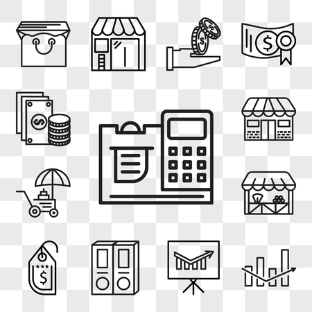 Set Of 13 transparent editable icons such as Cashier, Box, Presentation, Folder, Price tag, Grocery, Coin, Store, Change, web ui icon pack, transparency set Illustration
