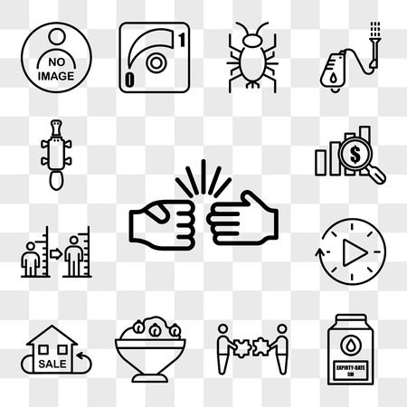 Set Of 13 transparent icons such as rock paper scissors, expiry date, mergers and acquisitions, hummus, resale, downtime, body mass index, web ui editable icon pack, transparency set
