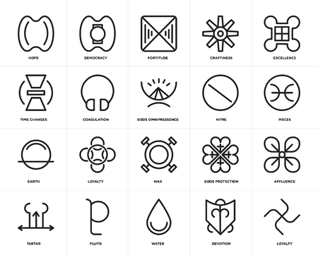 Set Of 20 icons such as Loyalty, Devotion, Water, Pluto, Tartar, Excellence, Nitre, Wax, Earth, Coagulation, Fortitude, web UI editable icon pack, pixel perfect Illustration