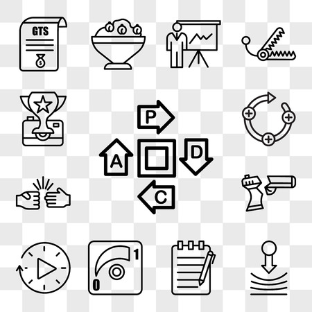 Set Of 13 transparent icons such as pdca, resilience, essay writing, dimmer, downtime, broken gun, rock paper scissors, feedback loop, web ui editable icon pack, transparency set