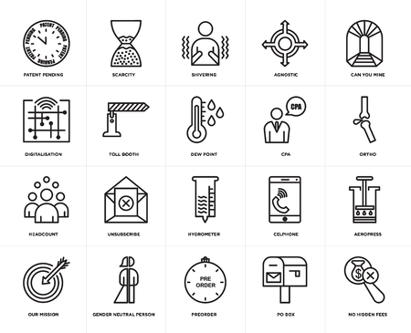 Set Of 20 simple editable icons such as no hidden fees, ortho, can you mine, agnostic, our mission, scarcity, celphone, digitalisation, web UI icon pack, pixel perfect