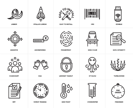 Set Of 20 simple editable icons such as preorder, data integrity, dongle, imei, rfp, stellar lumens, cthulhu, agnostic, web UI icon pack, pixel perfect