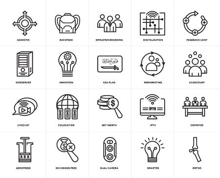 Set Of 20 simple editable icons such as ortho, headcount, feedback loop, digitalisation, aeropress, Backpack, iptv, webserver, web UI icon pack, pixel perfect 일러스트