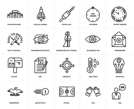 Conjunto de 20 iconos editables sencillos como cpa, cancelar suscripción, patente pendiente, preordenar, cormorán, lúmenes estelares, punto de rocío, fácil de instalar, paquete de iconos de interfaz de usuario web, píxel perfecto