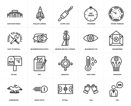 Set Of 20 simple editable icons such as cpa, unsubscribe, patent pending, preorder, cormorant, stellar lumens, dew point, easy to install, web UI icon pack, pixel perfect Stock Illustratie