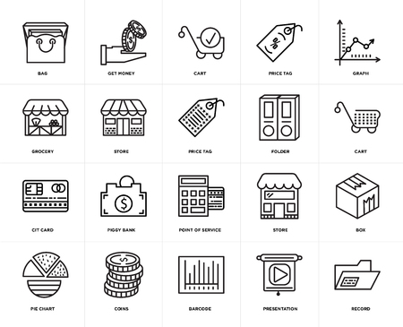 Set Of 20 icons such as Record, Presentation, Barcode, Coins, Pie chart, Graph, Folder, Point of service, Cit card, Store, Cart, web UI editable icon pack, pixel perfect Illusztráció