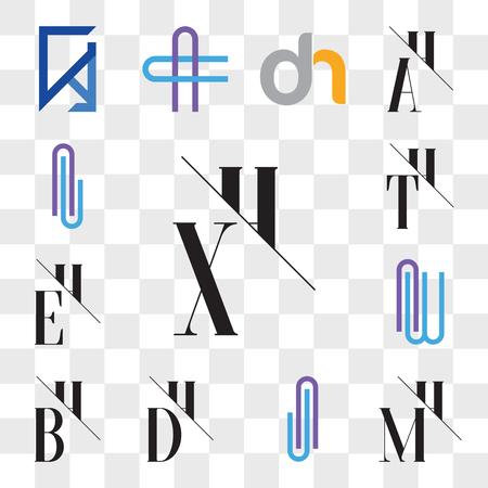 Set Of 13 transparent editable icons such as XH, HX, MH, HM, AJ or JA Letter, DH, HD, BH, HB, AW WA EH, HE, TH, HT, Al lA web ui icon pack, transparency set
