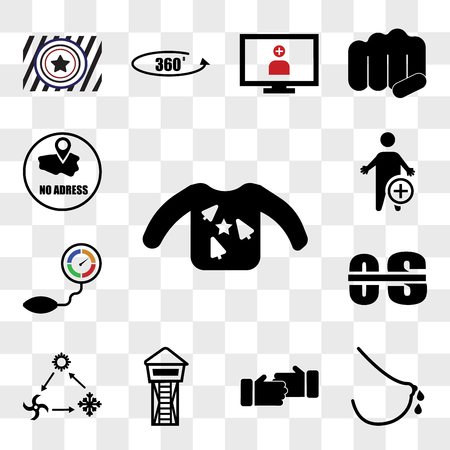 Set Of 13 transparent icons such as ugly sweater, lactation, sponsorship, lifeguard tower, hvac, occupational therapy, pressure sensor, web ui editable icon pack, transparency set Stock fotó - 111892262