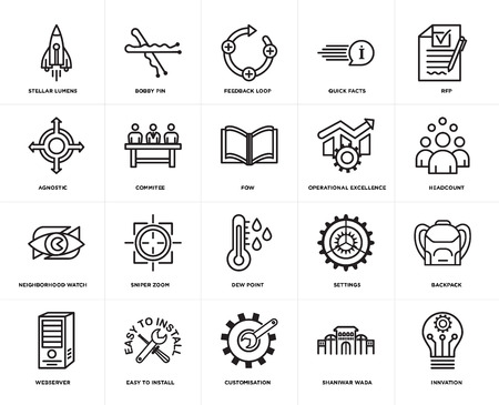 Set Of 20 simple editable icons such as innvation, headcount, rfp, quick facts, webserver, bobby pin, settings, agnostic, web UI icon pack, pixel perfect 일러스트