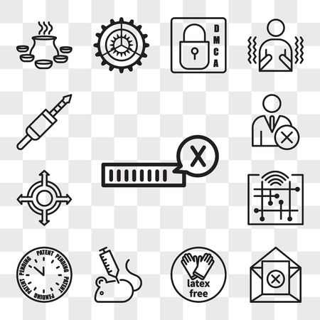 Set Of 13 transparent icons such as unconfirmed, unsubscribe, latex free, animal experimentation, patent pending, digitalisation, agnostic, unfollow, web ui editable icon pack, transparency set
