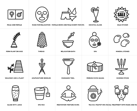 Set Of 20 simple editable icons such as Mask for relaxation, Tea in a teapot, Sale sticker, Spa pan, glass with juice, Incense sticks, thread, web UI icon pack, pixel perfect Illustration