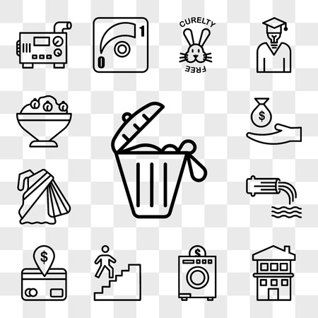 Set Of 13 transparent editable icons such as solid waste, two story house, coin laundry, stairwell, direct debit, wastewater, saree, subsidy, hummus, web ui icon pack, transparency set