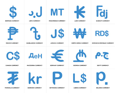 Set Of 20 simple editable icons such as Jamaica currency, Liberia Botswana Denmark North Korea web UI icon pack, pixel perfect