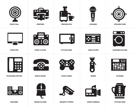 Set Of 20 simple editable icons such as Kitchen pack, Washing machine, Speaker cone, Karaoke, Speakers, Printers, Baber, Computer, web UI icon pixel perfect