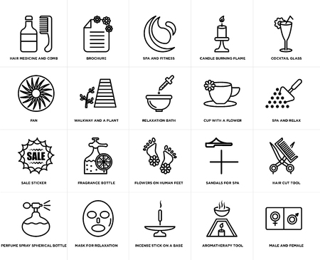 Set Of 20 simple editable icons such as Spa and relax, Incense stick on a base, Mask for relaxation, fan, Relaxation bath, web UI icon pack, pixel perfect