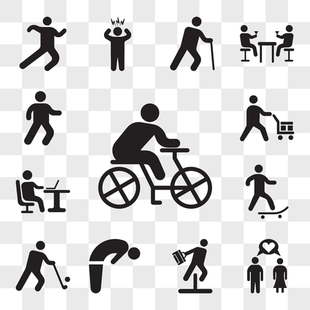 Set Of 13 transparent icons such as Cyclist, Couple in Love, Businessman jumping an obstacle, Backbend, Golfer, Skater, Working with laptop, web ui editable icon pack, transparency set Illustration