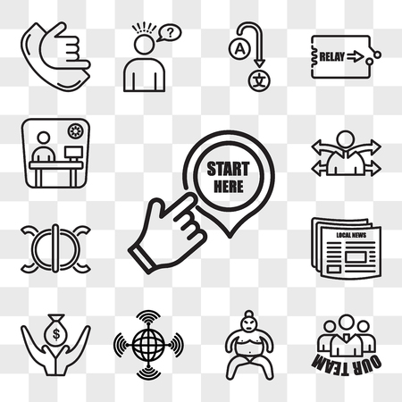 Set Of 13 transparent editable icons such as start here, our team, sumo, wan, lender, local news, perseverance, versatility, cubicle, web ui icon pack, transparency set