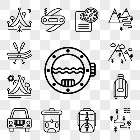 Set Of 13 transparent editable icons such as Porthole, Map, Backpack, Car, Suitcase, Travel, Mountain, Ski, web ui icon pack, transparency set Illustration