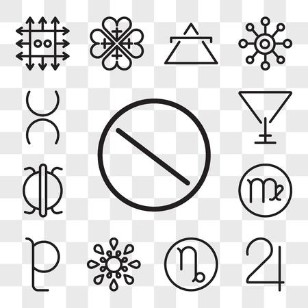 Set Of 13 transparent editable icons such as Nitre, Jupiter, Capricorn, Inequality, Pluto, Virgo, Perseverance, Soapstone, Tin, web ui icon pack, transparency set Illustration
