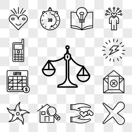 Set van 13 transparante pictogrammen zoals ongebalanceerde schaal, x, loyaal, huisinspecteur, werpster, uitschrijven, loto, energiek, web ui bewerkbaar pictogrampakket, transparantieset