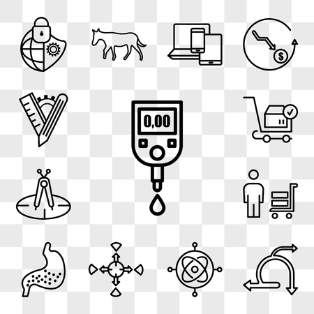 Set Of 13 transparent editable icons such as blood sugar, agile, gyroscope, allocation, gut, suppliers, calibration, place order, tailor made, web ui icon pack, transparency set