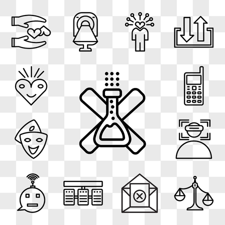 Set Of 13 transparent editable icons such as no preservatives, unbalanced scale, unsubscribe, server stack, , immersion, cosplay, handphone, bliss, web ui icon pack, transparency set Stock Illustratie