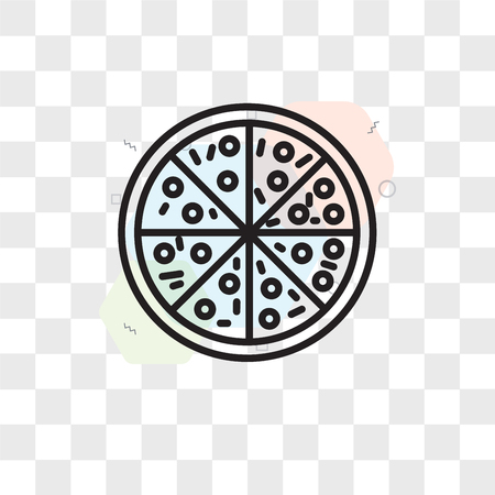 Pizza vector icon isolated on transparent background, Pizza logo concept