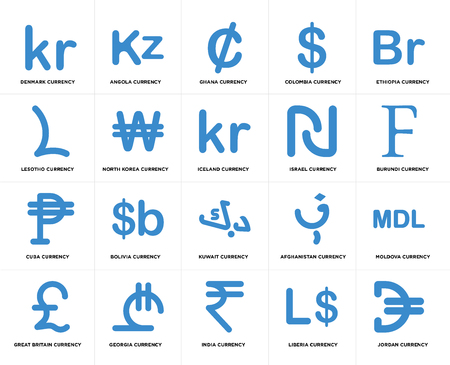 Set Of 20 simple editable icons such as Burundi currency, India Georgia Lesotho Iceland web UI icon pack, pixel perfect Illustration