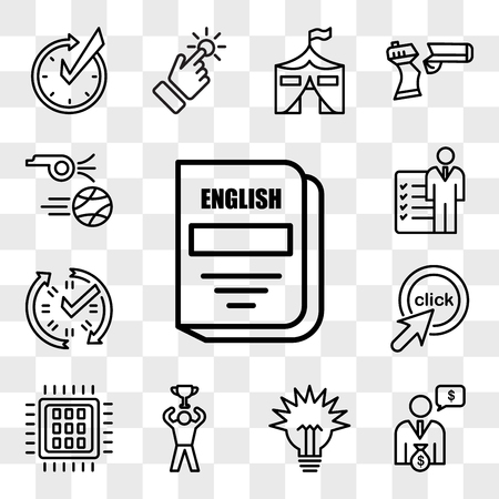 Set Of 13 transparent icons such as english subject, cfo, lumen, achive, quad-core processor, click me, real time data, roles and responsibilities, web ui editable icon pack, transparency set