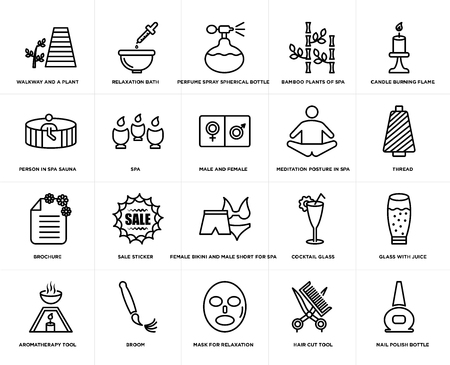 Set Of 20 simple editable icons such as Relaxation bath, Hair cut tool, Candle burning flame, broom, Aromatherapy glass with juice, Spa, web UI icon pack, pixel perfect