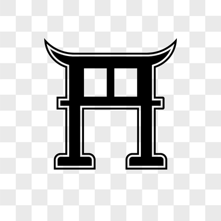 Torii vector icon isolated on transparent background, Torii logo concept