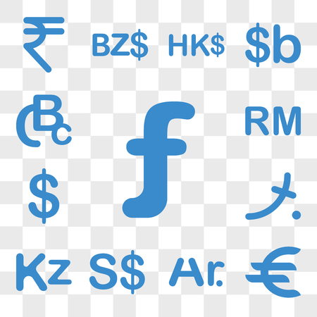 Set Of 13 transparent icons such as Aruba currency, Germany Madagascar Singapore Angola Maldives web ui editable icon pack, transparency Stock Illustratie