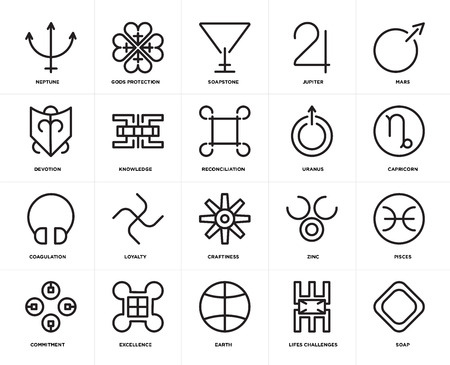 Set Of 20 icons such as Soap, Lifes challenges, Earth, Excellence, Commitment, Mars, Uranus, Craftiness, Coagulation, Knowledge, Soapstone, web UI editable icon pack, pixel perfect