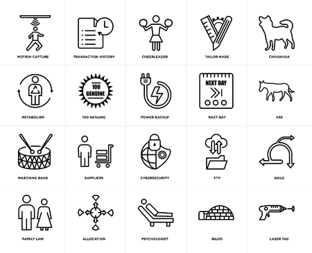 Set Of 20 simple editable icons such as laser tag, ass, chihuahua, tailor made, family law, transaction history, ftp, metabolism, web UI icon pack, pixel perfect Ilustração