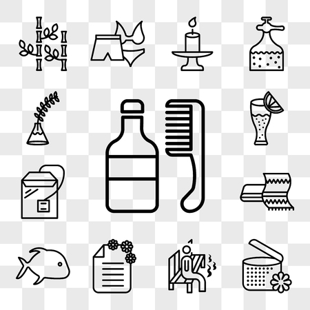 Set Of 13 transparent icons such as hair medicine and comb, spa ointment with flower, Man sitting in sauna, brochure, fish, Towel, Tea bag, web ui editable icon pack, transparency set