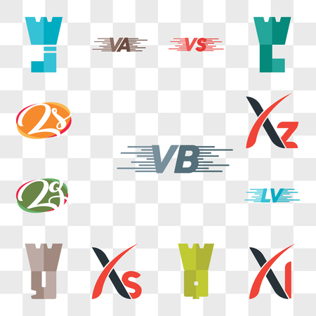 Set Of 13 transparent editable icons such as VB, Xl, WQ, Xs, Wy, LV, zg or gz, Xz, Zs sZ, web ui icon pack, transparency set 스톡 콘텐츠 - 106809865