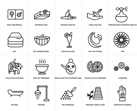 Set Of 20 simple editable icons such as Swimming pool, walkway and a plant, Perfume spray spherical bottle, shower, spa bed, 3 flowers, Spa wooden bowl, web UI icon pack, pixel perfect