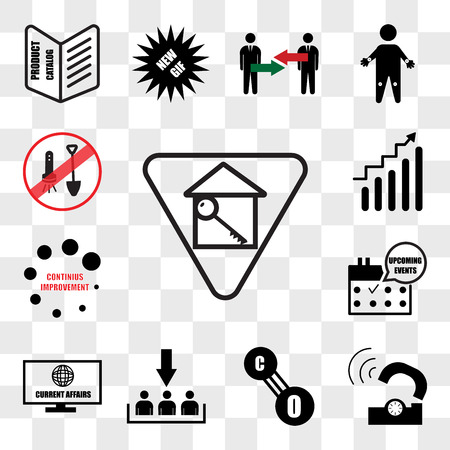 Set Of 13 transparent icons such as monopoly house, telco, carbon monoxide, customer acquisition, current affairs, upcoming events, continuous improvement, web ui editable icon pack, transparency set