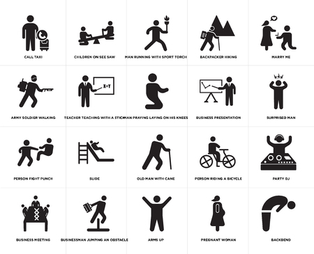 Set Of 20 simple editable icons such as Man praying laying on his knees, Pregnant woman, Arms up, Businessman jumping an obstacle, Business presentation, web UI icon pack, pixel perfect Illustration