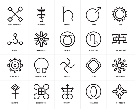 Set Of 20 icons such as Good luck, Greatness, Sulphur, Excellence, Sun, Capricorn, Loyalty, Authority, Craftiness, Uranus, web UI editable icon pack, pixel perfect