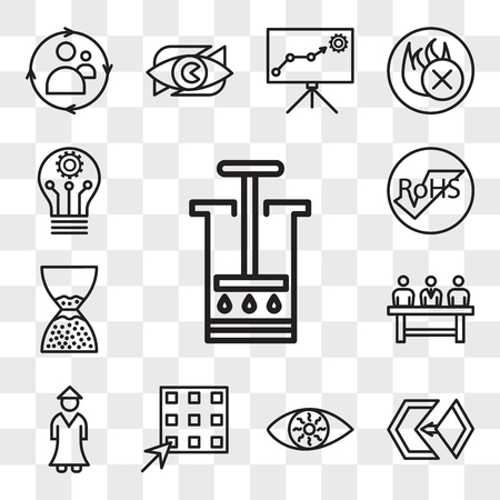 Set Of 13 transparent editable icons such as aeropress, matchmaking, bloodshot eye, waffle, sensei, commitee, scarcity, rohs, innvation, web ui icon pack, transparency set