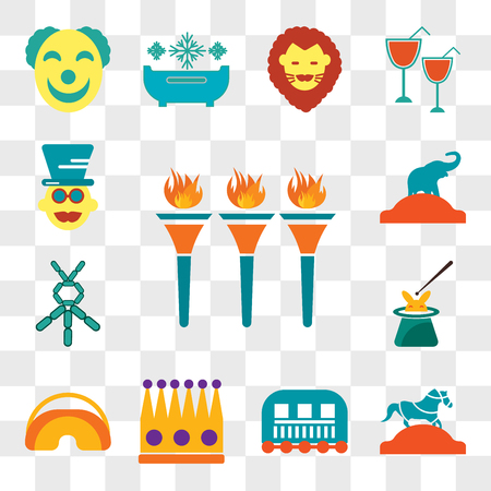 Set Of 13 transparent editable icons such as Flambeaux, Horse, Cage, Crown, Eye mask, Magician, Balloon modelling, Elephant, web ui icon pack, transparency set Çizim