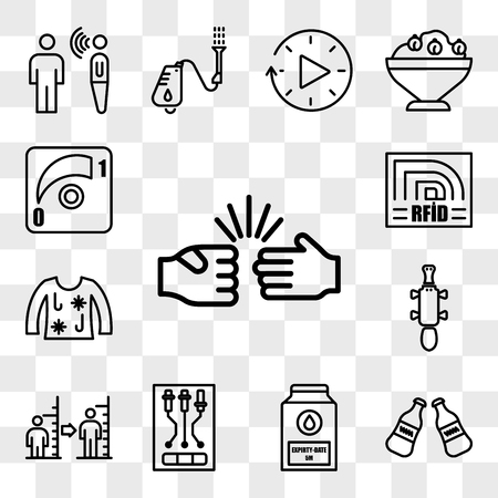 Set Of 13 transparent icons such as rock paper scissors, coke bottle, expiry date, , body mass index, platypus, ugly christmas sweater, rfid, web ui editable icon pack, transparency set