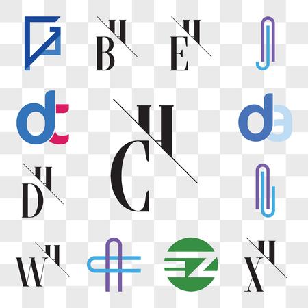 Satz von 13 transparenten bearbeitbaren Symbolen wie CH-, HC-, XH-, HX-, EZ ZE-, AC- oder CA-Buchstaben, WH, HW, ALLA DH, HD, da, Anzeige, dt, dt, Web-UI-Symbolpaket, Transparenzsatz Vektorgrafik