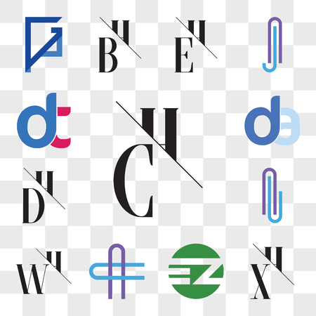 Set Of 13 transparent editable icons such as CH, HC, XH, HX, EZ ZE, AC or CA Letter, WH, HW, Al lA DH, HD, da, ad, dt, dt, web ui icon pack, transparency set