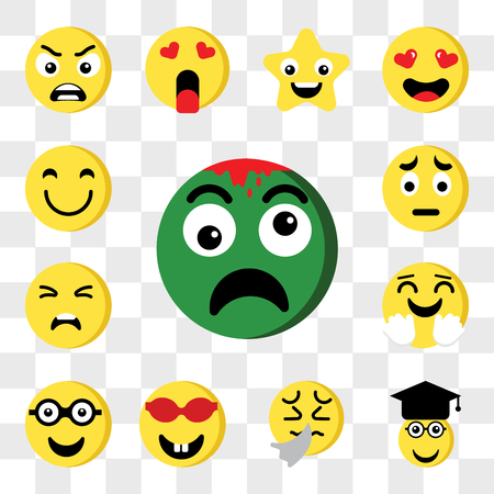 Set Of 13 transparent editable icons such as Zombie, Graduated, Sick, Nerd, Happy, Sad, web ui icon pack, transparency set